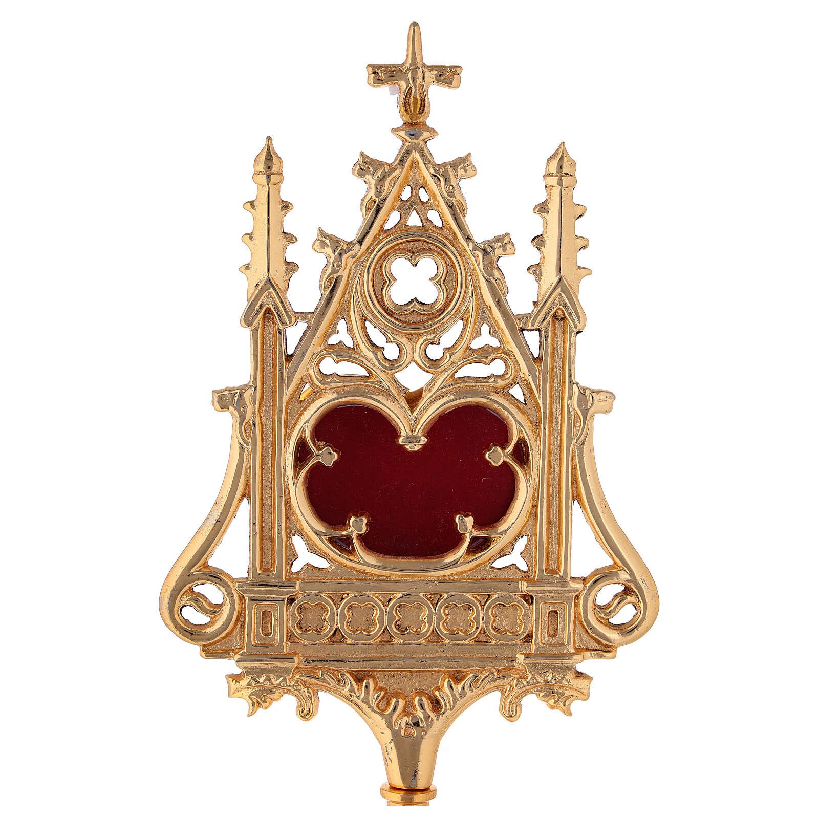 Reliquiario neogotico ottone dorato velluto rosso h 32 cm 4