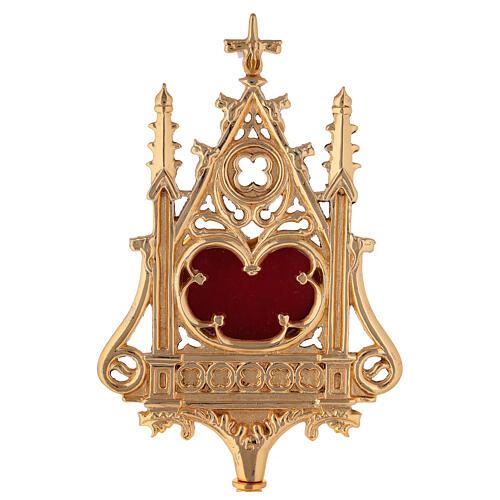 Reliquiario neogotico ottone dorato velluto rosso h 32 cm 2