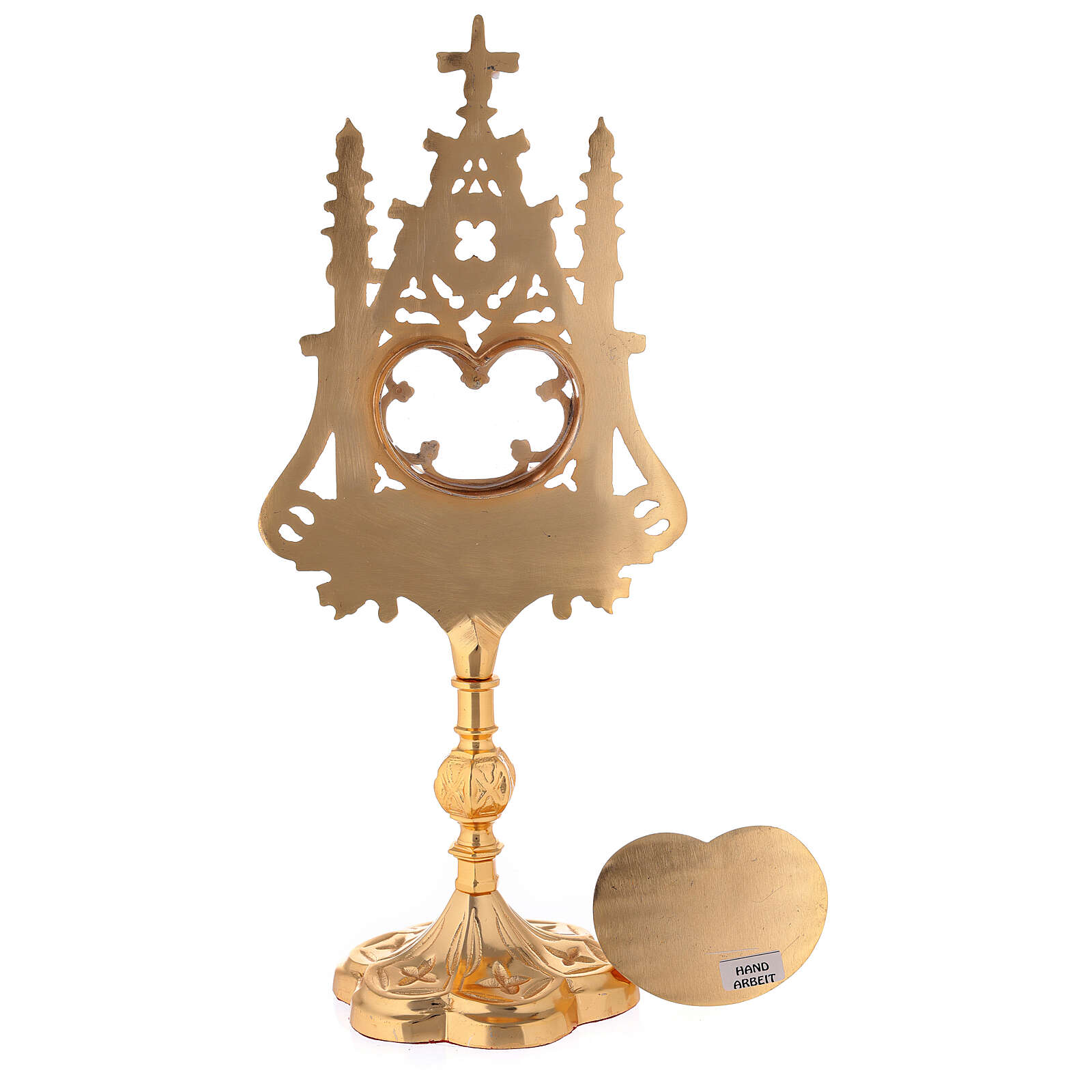 Neogothic gold plated brass reliquary with red velvet window h 12 1/2 in 4