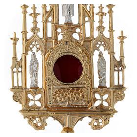Reliquiario ottone dorato neogotico con statuette h 57 s2