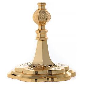 Reliquiario ottone dorato neogotico con statuette h 57 s4