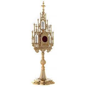 Reliquiario ottone dorato neogotico con statuette h 57 s5