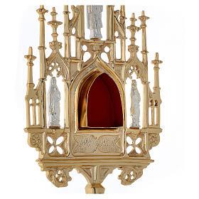 Reliquiario ottone dorato neogotico con statuette h 57 s6