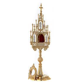 Reliquiario ottone dorato neogotico con statuette h 57 s7