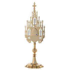 Reliquiario ottone dorato neogotico con statuette h 57 s8