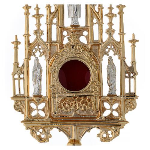 Reliquiario ottone dorato neogotico con statuette h 57 2