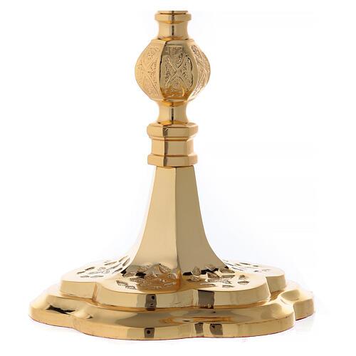 Reliquiario ottone dorato neogotico con statuette h 57 4