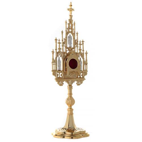 Reliquiario ottone dorato neogotico con statuette h 57 5