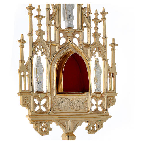 Neogothic gold plated brass reliquary with statues h 22 1/2 in 6