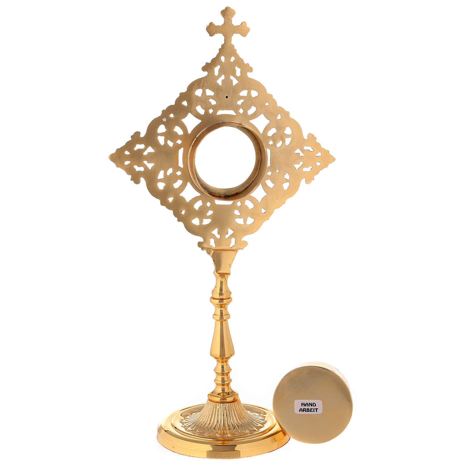 Reliquary with square frame and crystals in golden brass h 32 cm 4