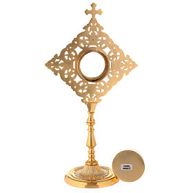 Reliquary with square frame and crystals in golden brass h 32 cm s5