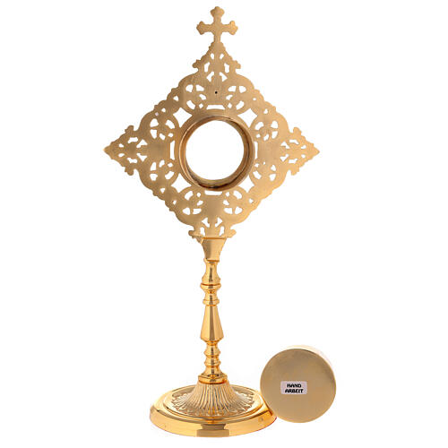 Reliquary with square frame and crystals in golden brass h 32 cm 5
