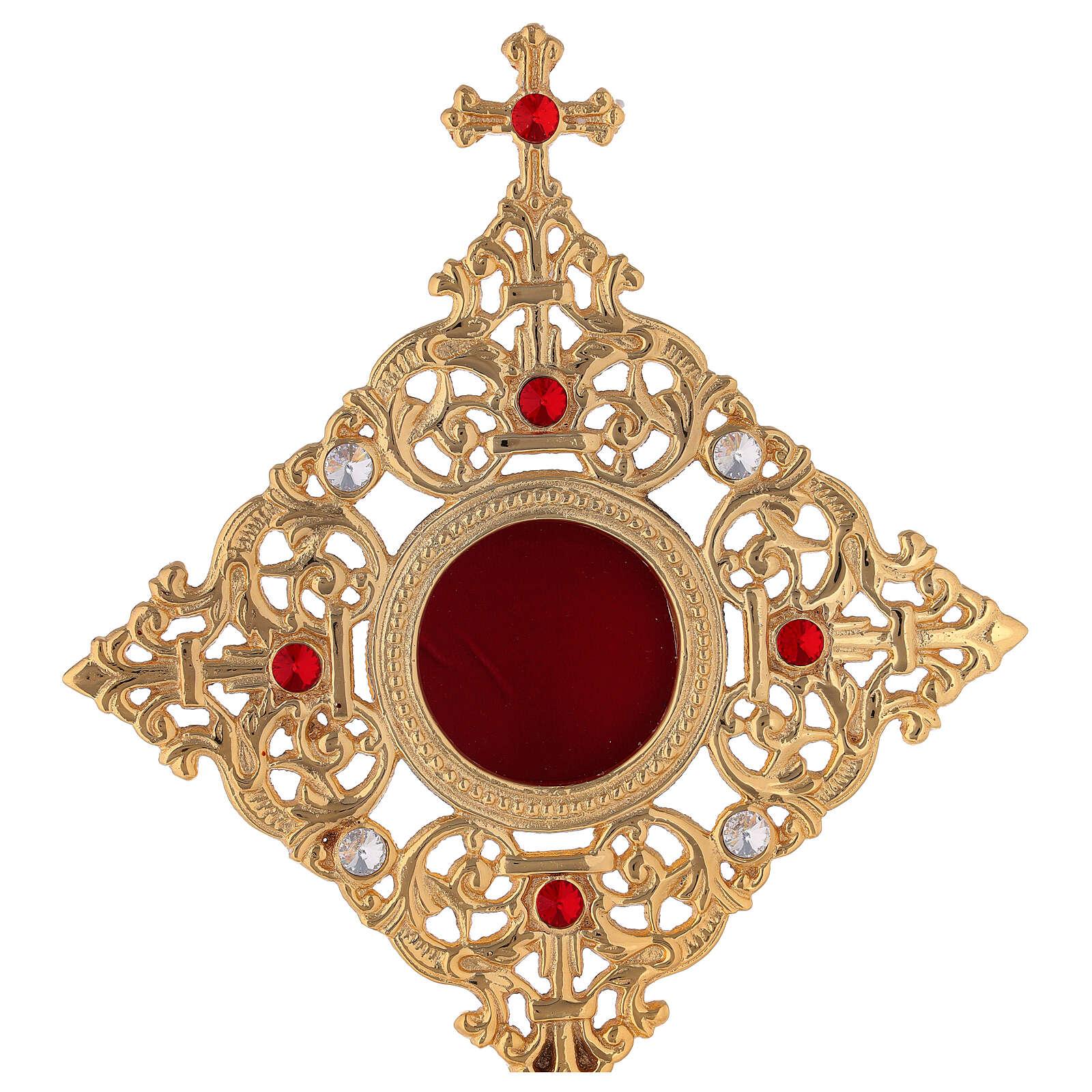 Relicario marco cuadrado latón dorado cristales h 32 cm 4
