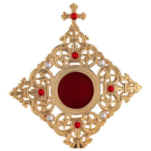 Relicario marco cuadrado latón dorado cristales h 32 cm 2