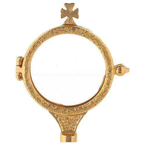 Ostensório cachos de uva latão dourado luneta 6,5 cm 2