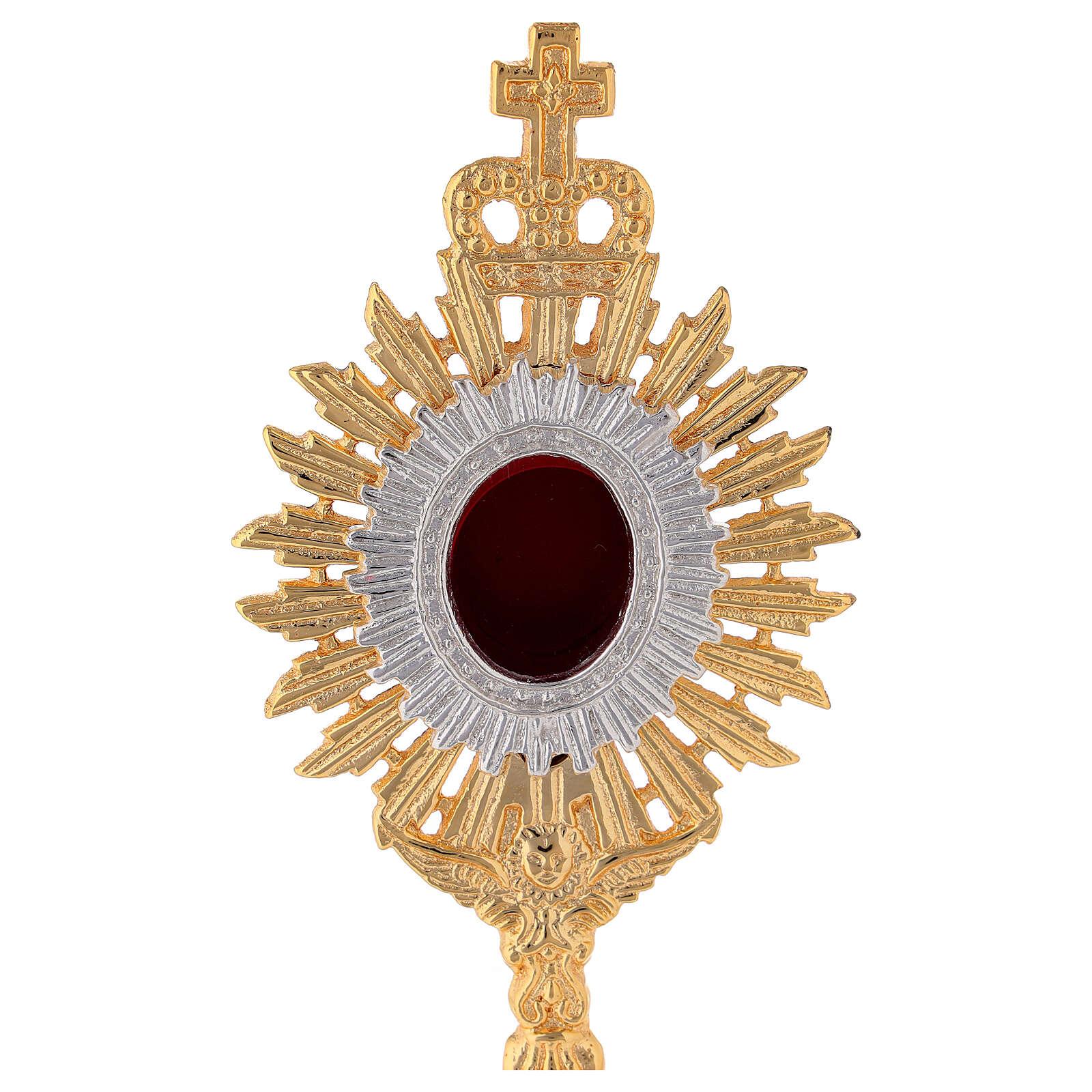 Mini reliquaire laiton doré h 18 cm couronne royale rayons 4