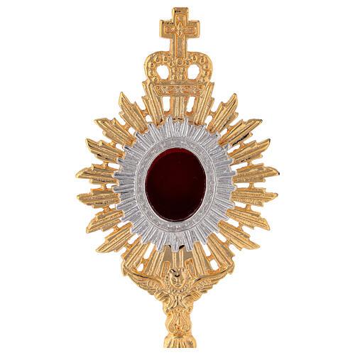 Mini reliquaire laiton doré h 18 cm couronne royale rayons 2