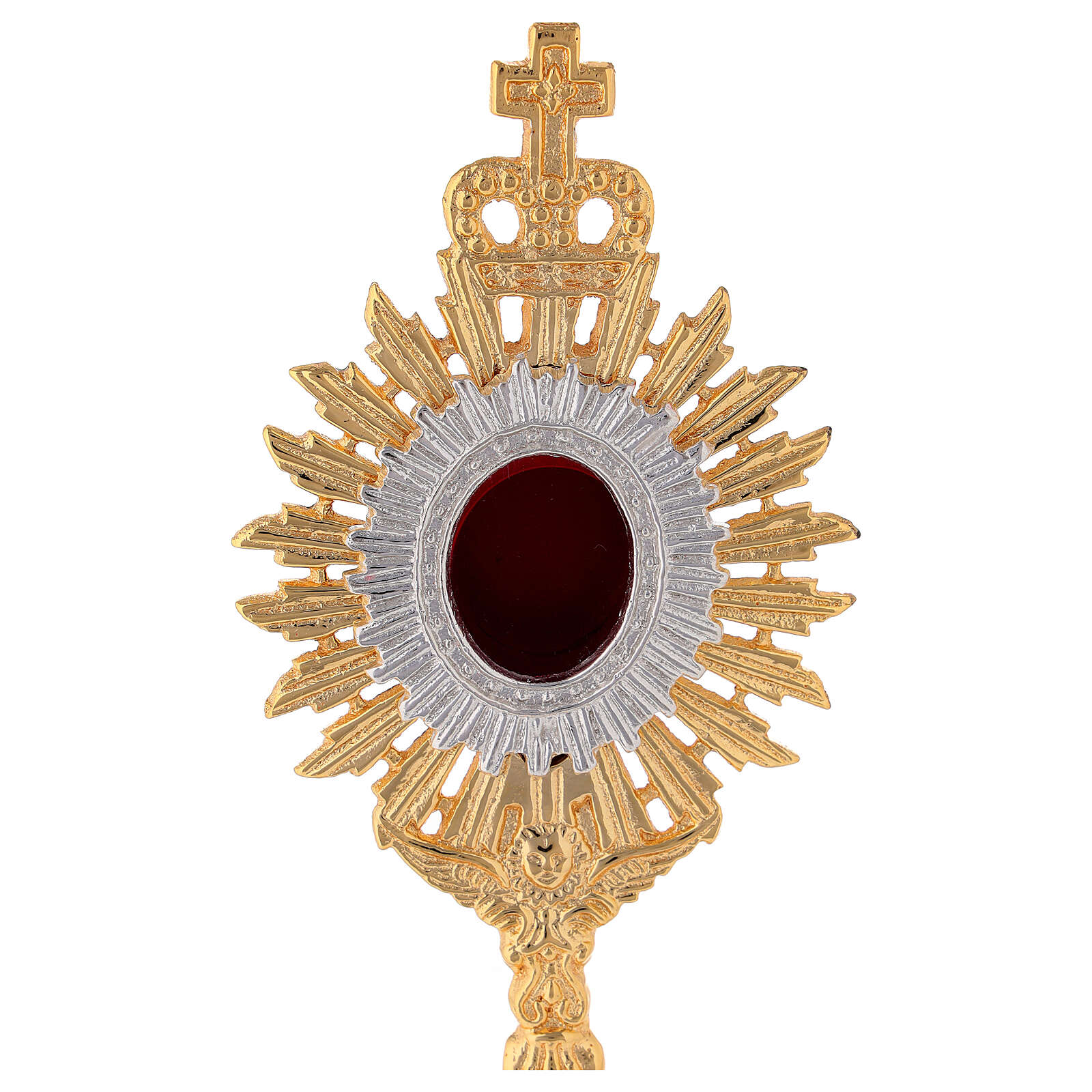 Mini reliquiario ottone dorato h 18 cm corona regale raggiera 4