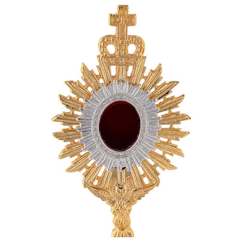 Mini reliquary in gold plated brass h 7 in royal crown and rays 2