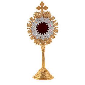 Mini reliquaire néogothique laiton doré croix trilobée h 19 cm s1