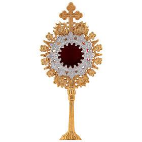Mini reliquaire néogothique laiton doré croix trilobée h 19 cm s2