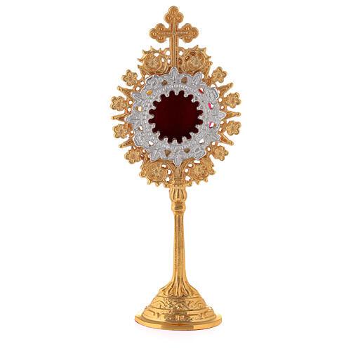 Mini reliquaire néogothique laiton doré croix trilobée h 19 cm 1