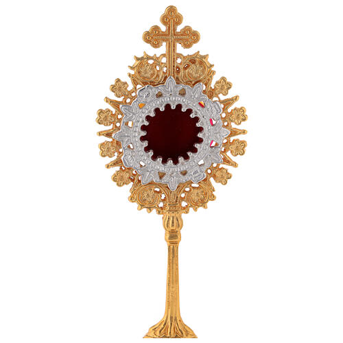 Mini reliquaire néogothique laiton doré croix trilobée h 19 cm 2