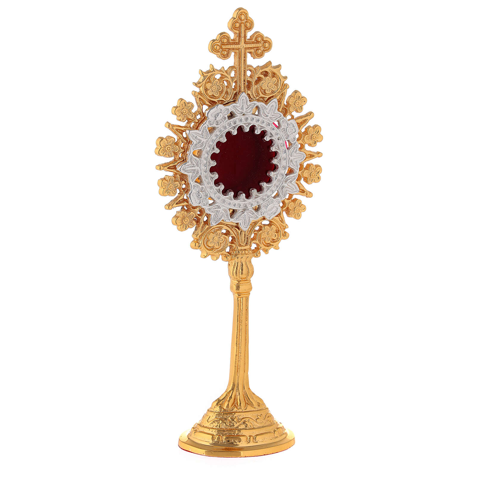 Relicário miniatura neogótico latão dourado cruz em trevo h 19 cm 4