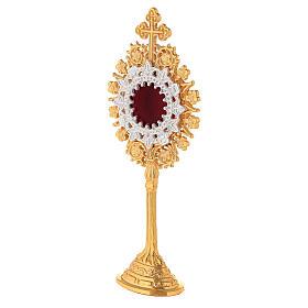 Relicário miniatura neogótico latão dourado cruz em trevo h 19 cm s3