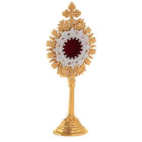 Relicário miniatura neogótico latão dourado cruz em trevo h 19 cm s4