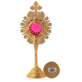 Relicário miniatura neogótico latão dourado cruz em trevo h 19 cm s5