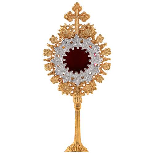 Relicário miniatura neogótico latão dourado cruz em trevo h 19 cm 2