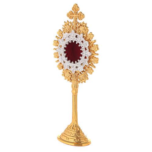 Relicário miniatura neogótico latão dourado cruz em trevo h 19 cm 3