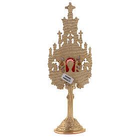 Mini reliquaire néogothique h 22,5 cm laiton doré argenté s5