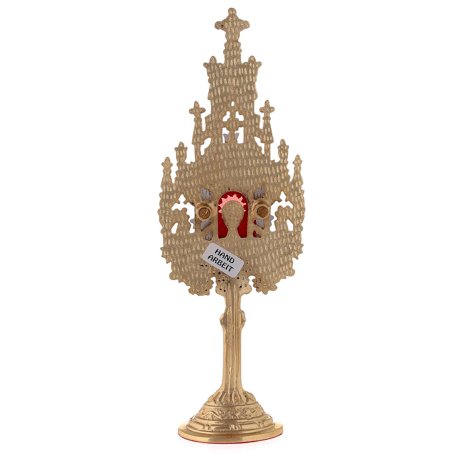 Mini reliquiario neogotico h 22,5 cm ottone dorato argentato 4