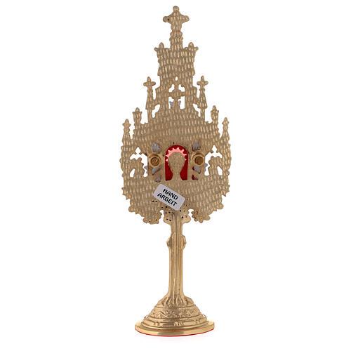 Mini reliquiario neogotico h 22,5 cm ottone dorato argentato 5