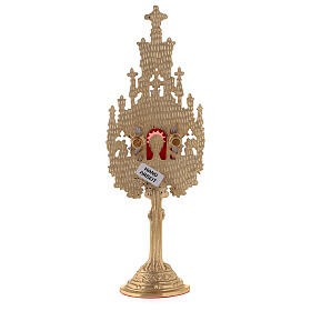 Neogothic mini reliquary in gold and silver-plated brass h 9 in s5