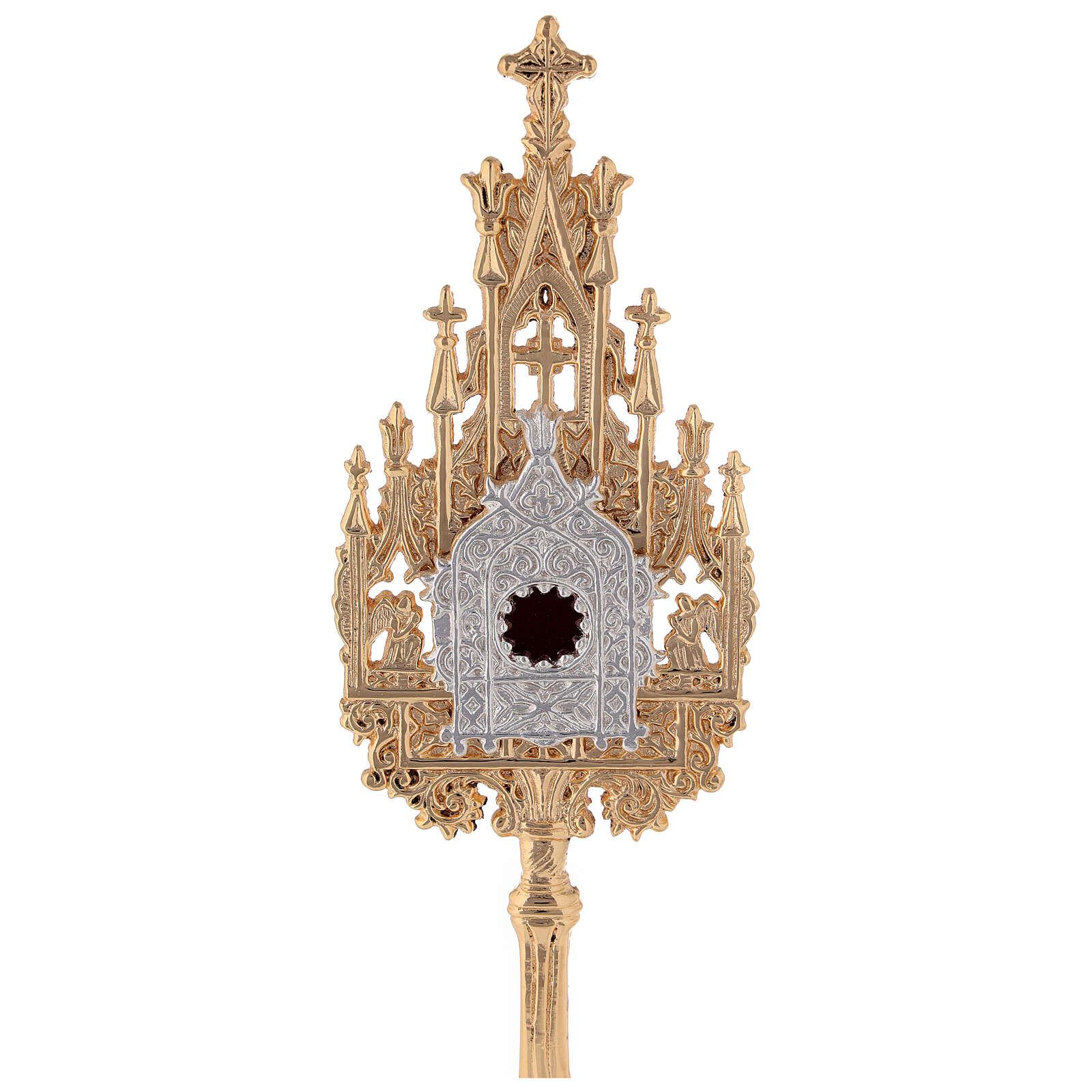 Mini reliquiario ottone dorato neogotico h 22,5 cm 4