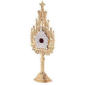 Mini reliquiario ottone dorato neogotico h 22,5 cm s3