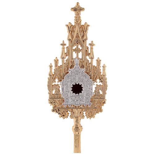 Mini reliquiario ottone dorato neogotico h 22,5 cm 2