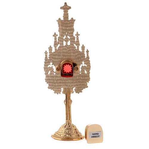 Mini reliquiario ottone dorato neogotico h 22,5 cm 5