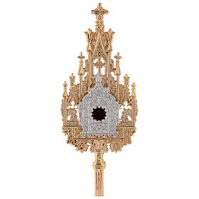 Neogothic small reliquary in gold plated brass h 9 in s2