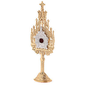 Neogothic small reliquary in gold plated brass h 9 in s3