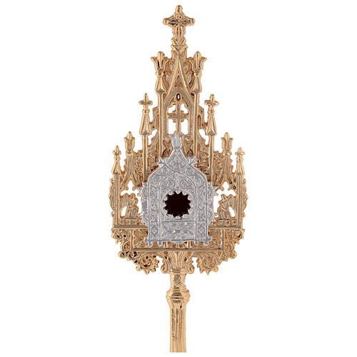 Neogothic small reliquary in gold plated brass h 9 in 2