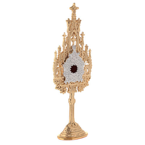 Neogothic small reliquary in gold plated brass h 9 in 4