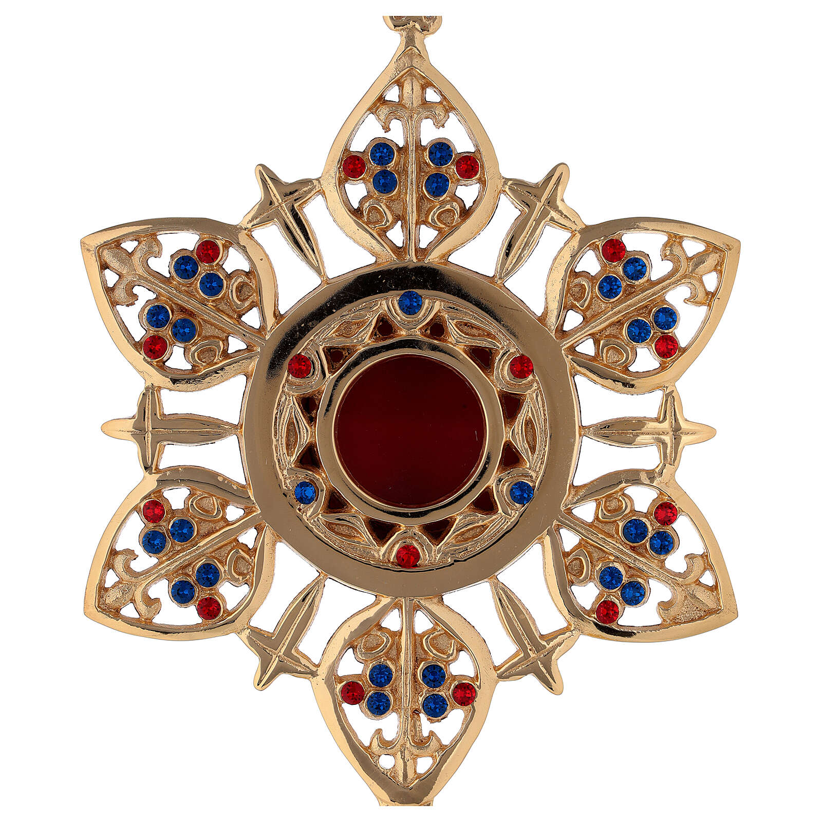 Flower shape reliquary in gold plated brass with colored stones 4