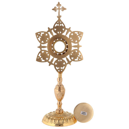 Flower shape reliquary in gold plated brass with colored stones 5