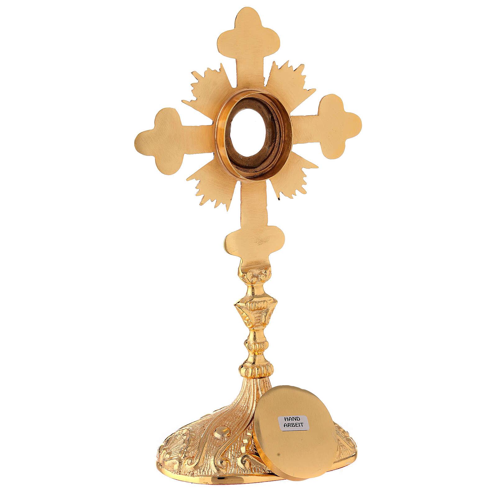 Relicario ovalado cruz trilobulada rayos latón dorado 28 cm 4