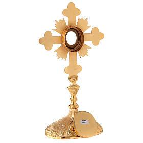 Relicario ovalado cruz trilobulada rayos latón dorado 28 cm s7