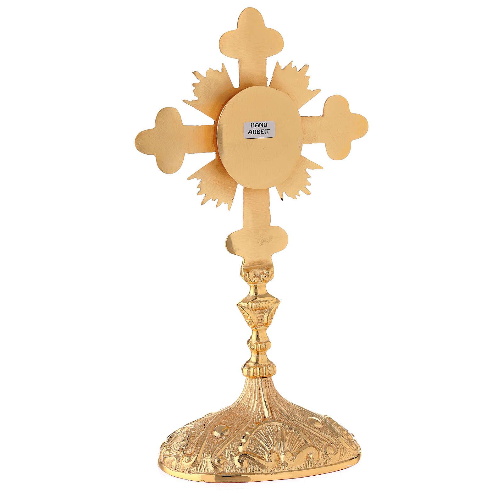Reliquiario ovale croce trilobata raggi ottone dorato 28 cm 4
